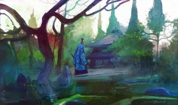 ormanda yaşlı bilge ve ev
