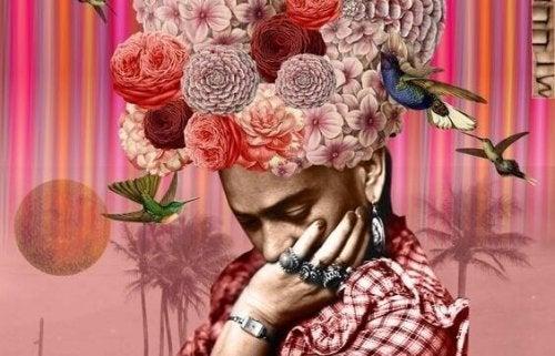 çiçek taçlı kadın