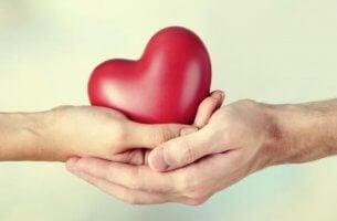 eller içinde kalpler