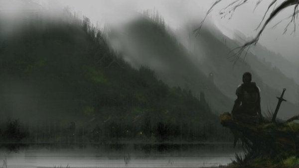 göl kenarında duran şövalye