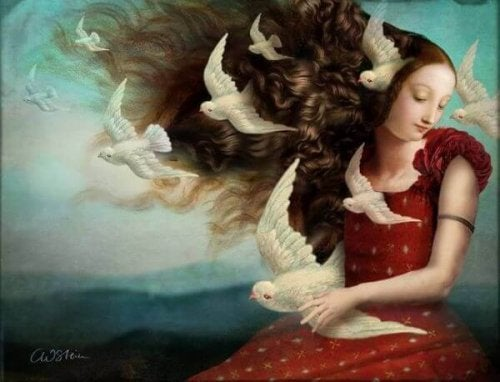 saçları kuşlu kadın