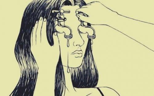 kaygı kadının gözlerindeki çeşme sular akıyor