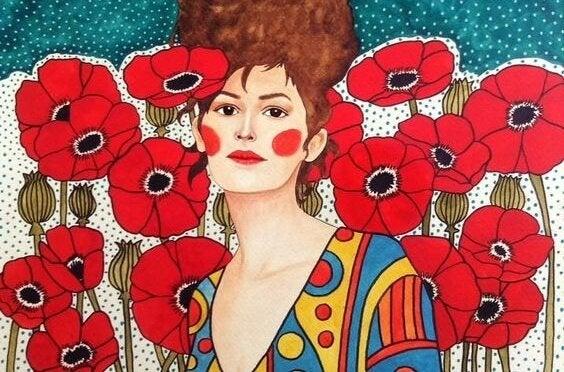 kırmızı çiçekler ve kadın