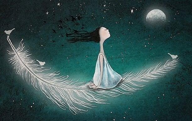 sevilmeye ihtiyacı olan kadın gökyünde tüy üzerinde ayın karşısında oturuyor