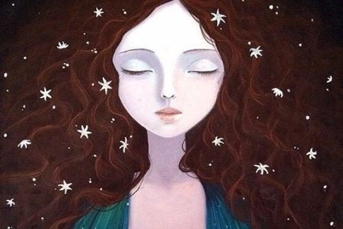yıldızlı saçlı kadın