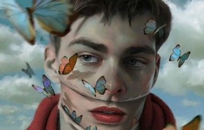 yüzünde kelebekler uçan adam