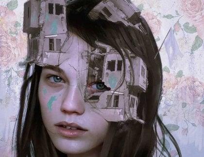 yüzünde yıkık evler olan kadın