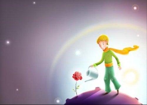 Çiçeklerini sulayan Küçük Prens