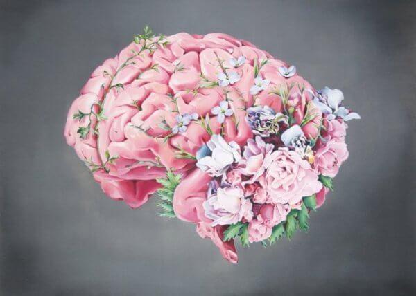 çiçeklerle dolu beyin