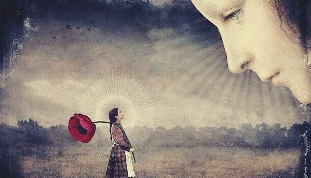 bir kız elinde gül ile bir kadına bakıyor