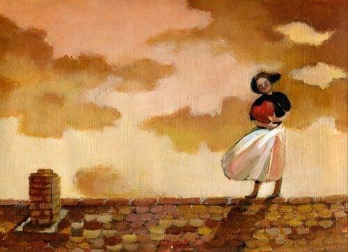 çatıda elinde kalple bekleyen kadın
