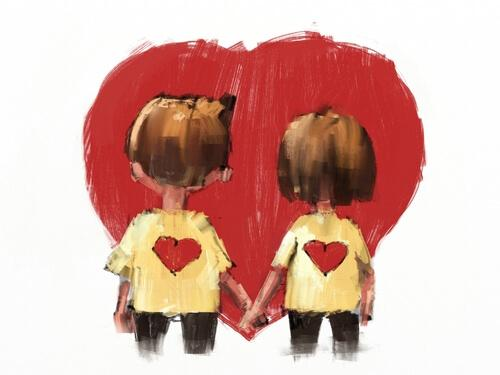 el ele tutuşan çift ve kalp