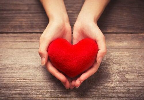 kalp tutan kadın eli