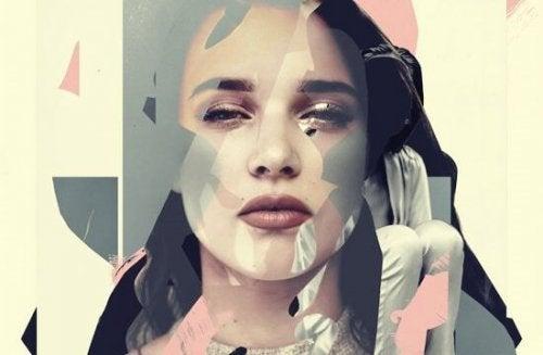 pastel renkler ve geometrik şekillerle dolu kadın yüzü