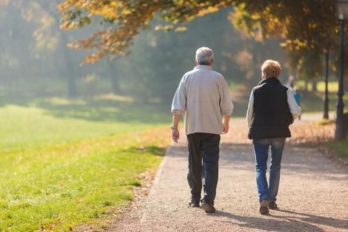 Yürüyüş yapan yaşlı çift