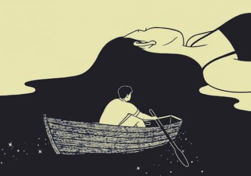 kadın saçında yüzen tekne