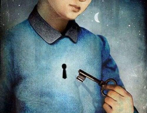 anahtar üzerinde anahtar deliği olan kişi gece ay