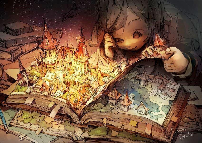 çocuk fantazi romanlarına dalmış