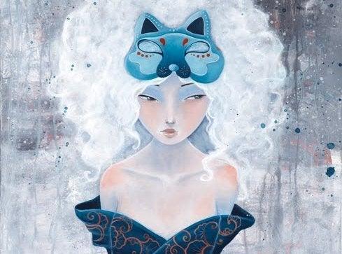 kedi kafalı kadın