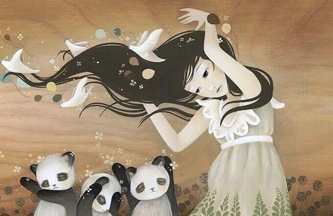 kadın üç panda ile beraber