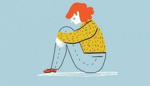 üzüntü ve depresyon mutsuz kadın çizim