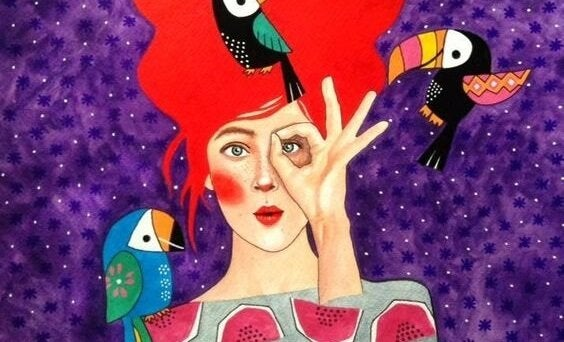 Eliyle işaret yapan bir kadın