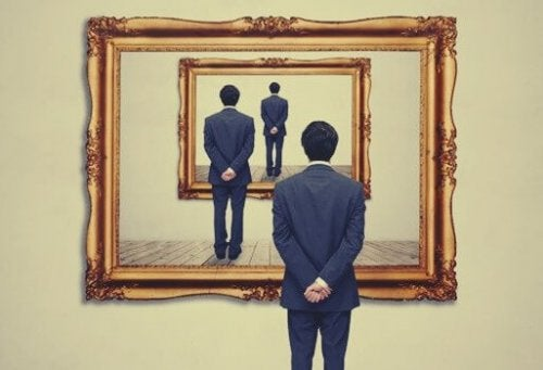 tablodaki adama bakan adam tablosuna bakan adam