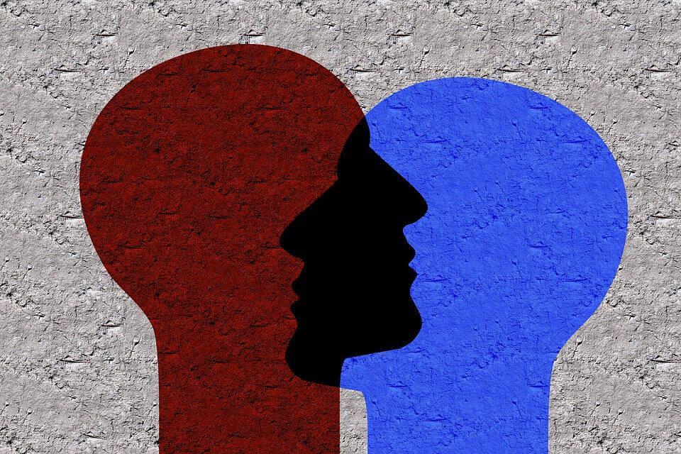 iç içe girmiş iki insan kafası