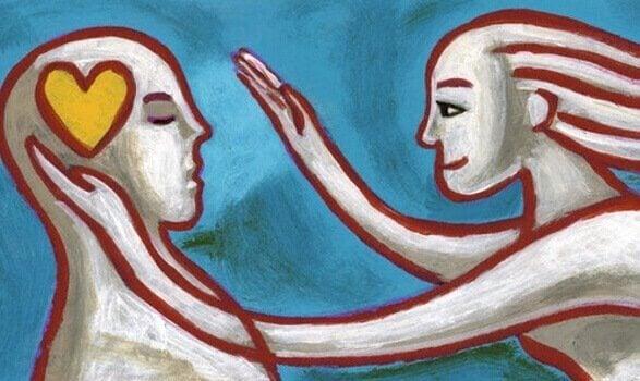 kadın ve kafasında kalp olan adam