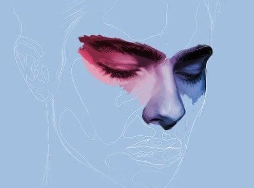 Mavi bir resimdeki erkek