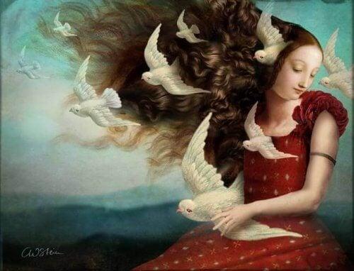 beyaz kuşlarla çevrili kız