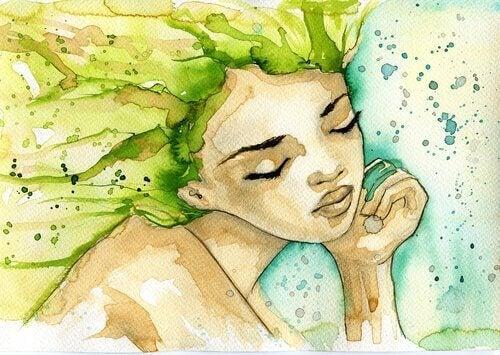 yeşil saçlı kız