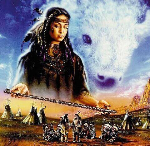 gökyüzünde kızılderili kadın ve kurt