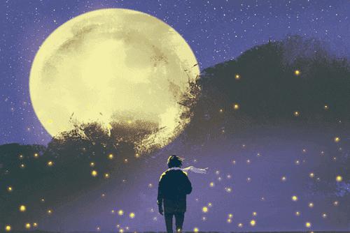 ay karşısında bir insan