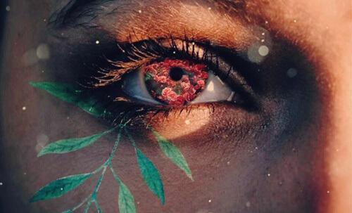 dünyaya sabırla bakan çiçekli göz