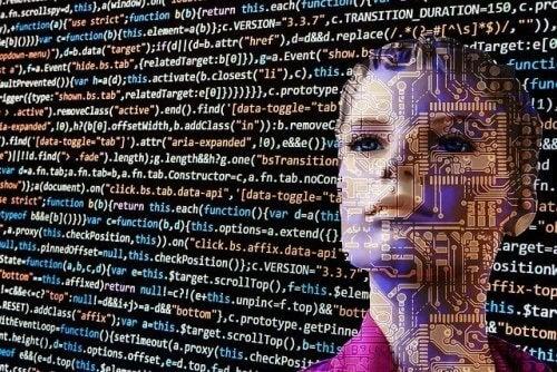 robot ve kodlarla dolu ekran
