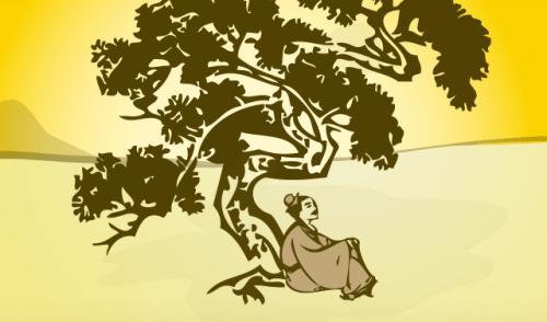 ağaç altında oturan adam