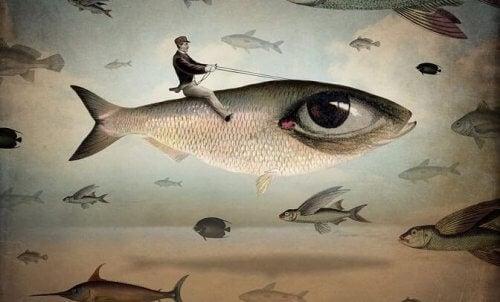 balığa binen adam çizimi