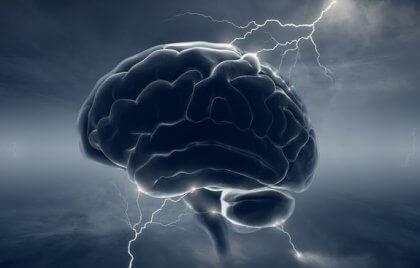 beyin ve şimşek ilüstrasyonu