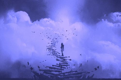 göğe uzanan merdivenleri çıkan kız