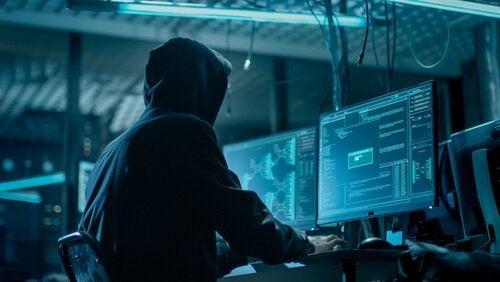 bilgisayarda kişisel bilgilere ulaşan adam