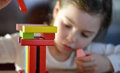 renkli oyuncak bloklarla oynayan küçük çocuk