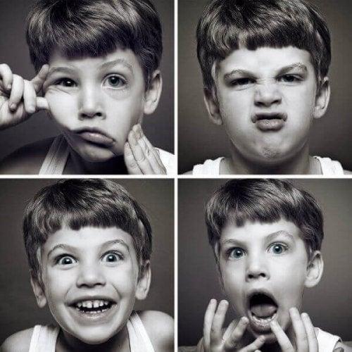 bir çocuğun faklı yüz ifadeleri