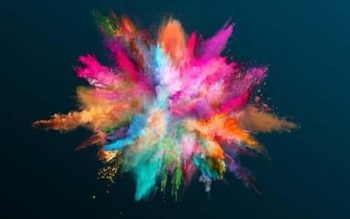 renklerden oluşmuş ışık topu ve renkler ve kişilik