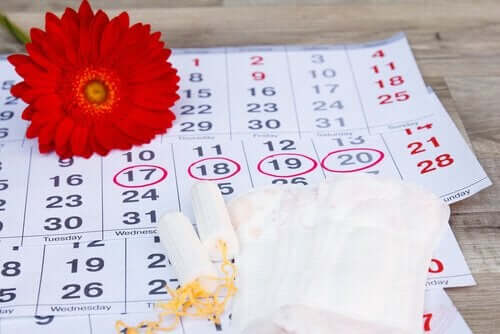 takvimde işaretli menstrüasyon ve çiçek