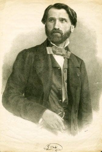 Giusseppe Verdi'nin kara kalem çizimi.