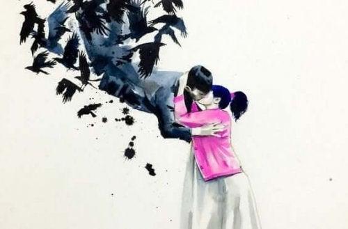 Öpüşen iki kişinin çizimi.