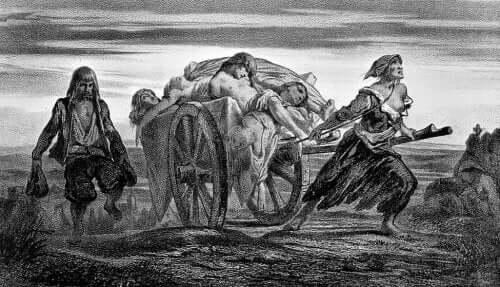 Bir at arabasında Kara Ölüm dolayısıyla ölmüş kişileri taşıyan iki kişi.