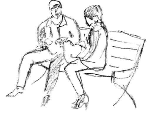 Bir bankta oturan çift çizimi