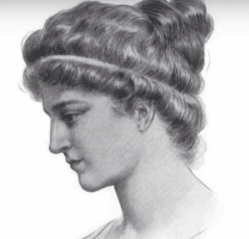İskenderiyeli Hypatia'nın bir kara kalem çizimi.